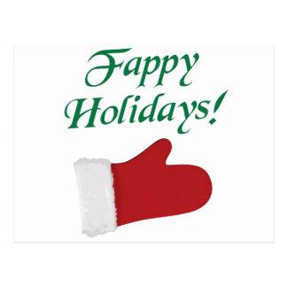 Fappy Holidays Christmas Glove Postcard