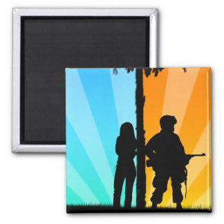 Far Apart, Close at heart 2 Inch Square Magnet