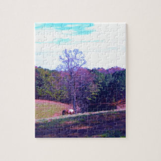 Far Away Horse in a Purple Field Jigsaw Puzzles