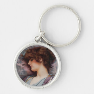Far Away Thoughts Oil Painting Silver-Colored Round Keychain