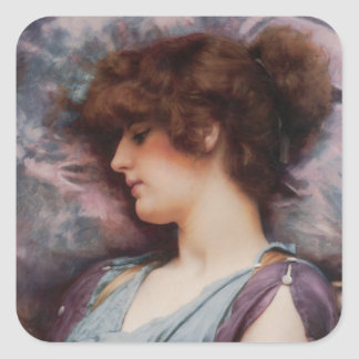 Far Away Thoughts Oil Painting Square Sticker