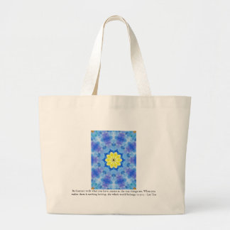 Far Eastern Inspired Art with Lao Tzu Life Quote Jumbo Tote Bag