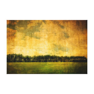 Far Off Tree Line Scene in Modern Vintage Style Canvas Print