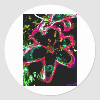 Far-out Black Lily Classic Round Sticker