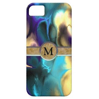 Far Out Blue & Gold Fractal Monogram iPhone SE/5/5s Case
