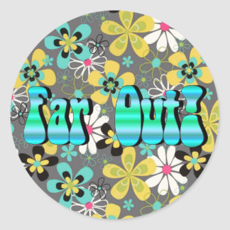 Far Out Floral Classic Round Sticker