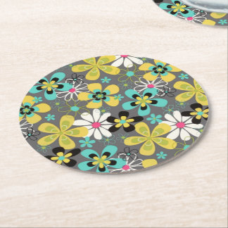 Far Out Floral Round Paper Coaster
