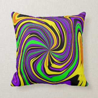 Far-out Funky Psychedelic Wet Paint Swirl Pattern Throw Pillow