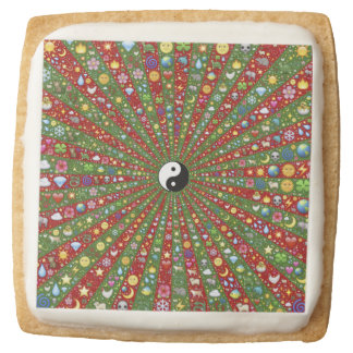 Far Out Hippie Yin Yang Square Shortbread Cookie