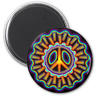 FAR OUT PEACE SIGN 2 INCH ROUND MAGNET