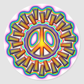 FAR OUT PEACE SIGN CLASSIC ROUND STICKER