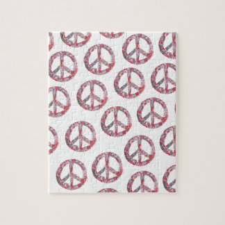 Far Too Pretty Floral Peace Symbols Jigsaw Puzzle