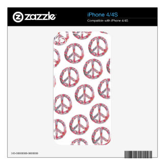 Far Too Pretty Floral Peace Symbols Skins For The iPhone 4S