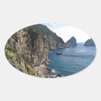 Faraglioni Rock formation on island Capri Oval Sticker