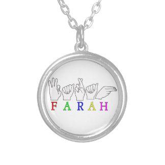 FARAH  NAME ASL FINGER SPELLED SILVER PLATED NECKLACE