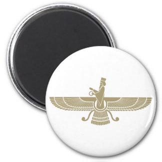 Faravahar estilizado imán redondo 5 cm