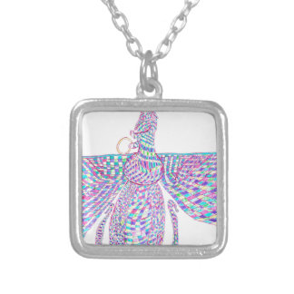 Faravahar spreads its wings silver plated necklace