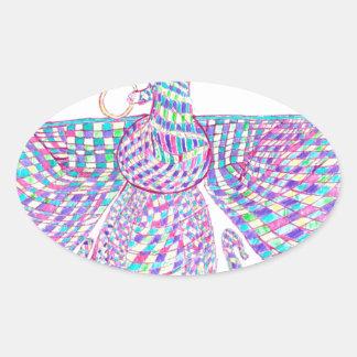 Faravahar spreads its wings oval sticker