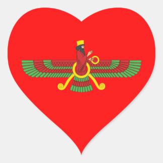 Faravahar Symbol Heart Sticker