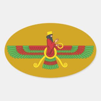 Faravahar Symbol Oval Sticker