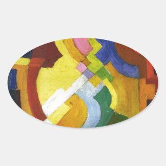 Farbige Formen III by August Macke Oval Sticker