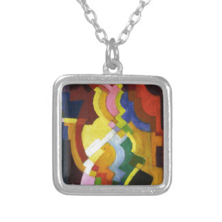 Farbige Formen III by August Macke Square Pendant Necklace