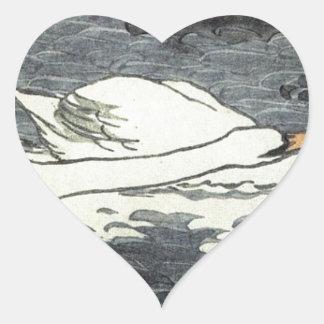Farbiger Holzschnitt Zwei Schwäne by Otto Eckmann Heart Sticker