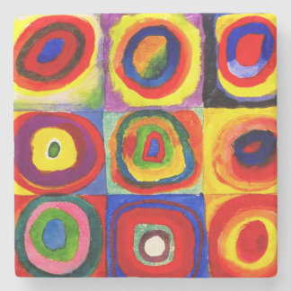 Farbstudie Quadrate Squares with Concentric Stone Coaster