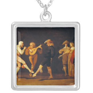 Farce Actors Dancing Silver Plated Necklace