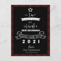 Farewell 2020 Typography Red Plaid White New Year Holiday Postcard