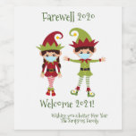 Farewell 2020 Welcome 2021 Holiday Elf Wine Wine Label