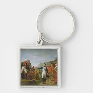 Farewell of Napoleon I  and Alexander I Silver-Colored Square Keychain