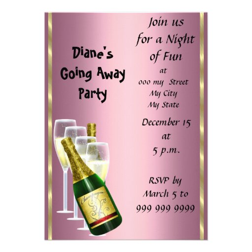 """Farewell Party Invitation Card Good Bye Pink 5"""" X 7"""" Invitation Card ..."""