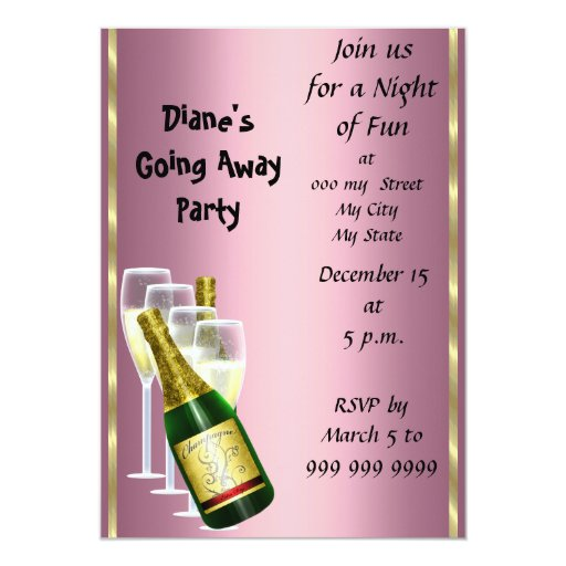 Farewell Party Invitation Card Good Bye Pink