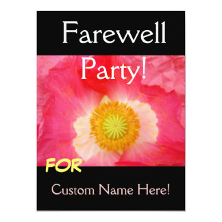 FAREWELL Party Invitations Cards Pink Poppy