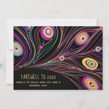 Farewell Peace to 2020 Modern Peacock Customized Holiday Card