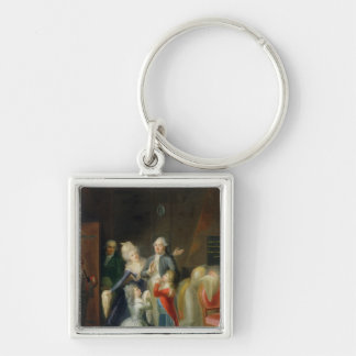 Farewell to Louis XVI by his Family Silver-Colored Square Keychain