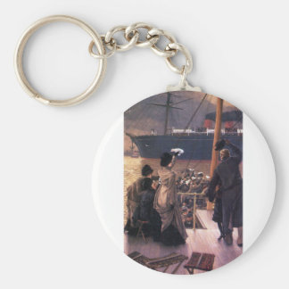 Farewell to the Mersey by James Tissot Basic Round Button Keychain