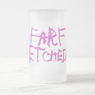 Farf Etched Frosted Pink and Purple Frosted Glass Beer Mug