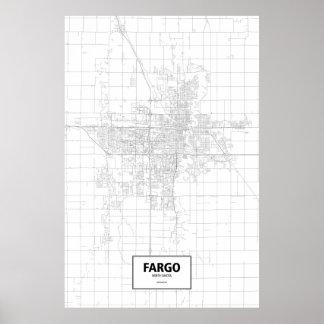 Fargo, Dakota del Norte (negro en blanco) Posters