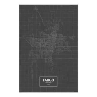 Fargo, North Dakota (white on black) Poster