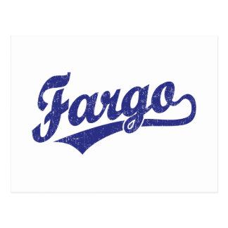 Fargo script logo in blue postcard
