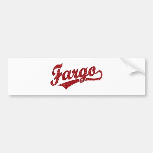 Fargo script logo in red car bumper sticker
