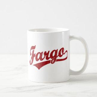 Fargo script logo in red coffee mug