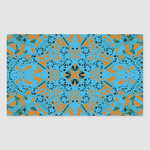 Farida Turquoise Rectangular Stickers