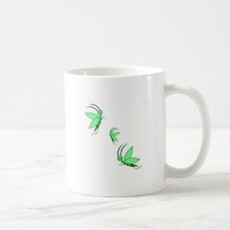 Faries verde taza básica blanca
