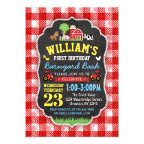 Farm 1st Birthday Invitation Red Tractors Barnyard