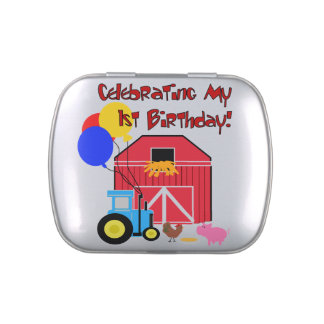 Farm 1st Birthday Tins and Jars w. Candy Candy Tin
