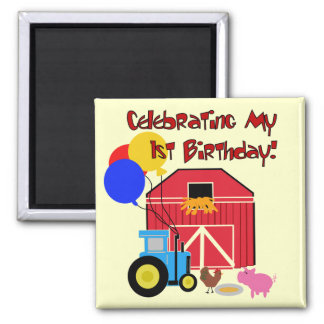 Farm 1st Birthday Tshirts and Gifts 2 Inch Square Magnet