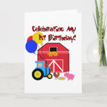 Farm 1st Birthday Tshirts and Gifts Card